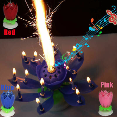 Musical Happy Birthday Candle Rotating Lights Lotus Flower Party Gift 14 Candles
