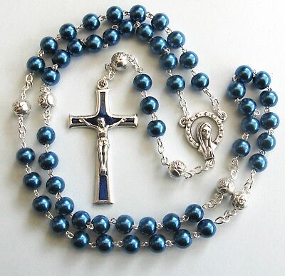 Handmade Blue Glass Pearl Pocket Rosary with Silver Plated Our Father beads