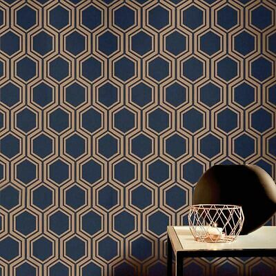 Arthouse Luxe Hexagon Geometric Wallpaper Navy Blue Gold Metallic