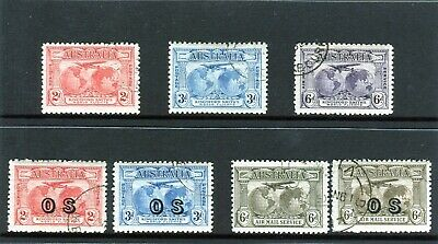 1931 Kingsford Smith & Airmail Set Of 7 Inc OS CTO 2d & 3d & OS Airmail, Used