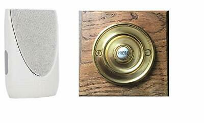 Byron Wireless Doorbell Kit with Period Style Bell Push Wooden Plinth