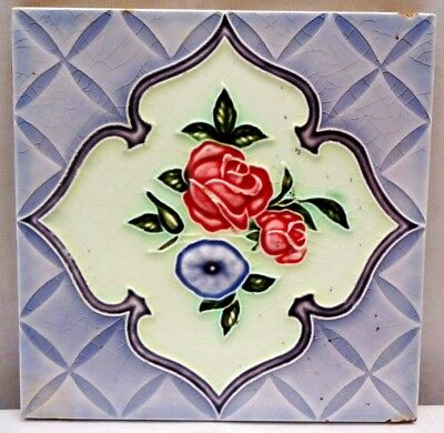 Tile Majolica Japan Art Nouveau Flower Design Saji Tile Works Ceramic Porcel#233