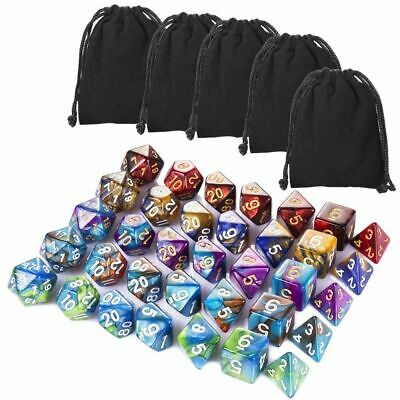 35 Pieces Polyhedral Dice, Colours Pouches RPG Dungeons and Dragons Pathfinder