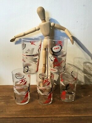 vintage Airplane   Cathay Sabena, KLM, Swissair,  ....6 pcs   Glasses , rare