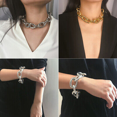 Metal Women Men Necklace Simple Chain Geometric Personality Necklace Shackles Ca