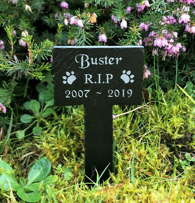 Personalised Engraved Pet Memorial Small Slate Grave Marker Plaque Stake Dog