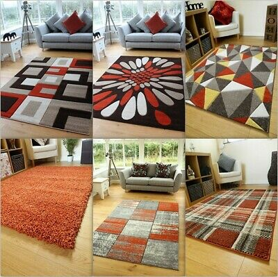 Brown Rust Orange Cream Modern Soft Thick Shag Rugs Small Extra Large Mats Cheap