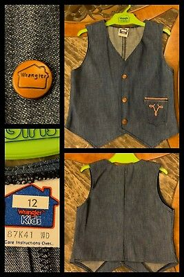 Girls Denim Jean Vest WRANGLER 1970s Hippy Sleeveless Snaps Biker Western Sz 12