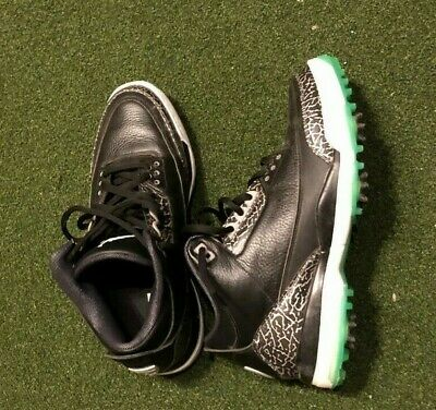 Nike Jordan 3 Golf Shoes Black Green Glow Size 12 Pre-Owned Great Condition a30beae6b