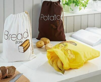 Bread Potato And Banana Bags Zip Opening Fresh Vegetable Breathable Storage UK