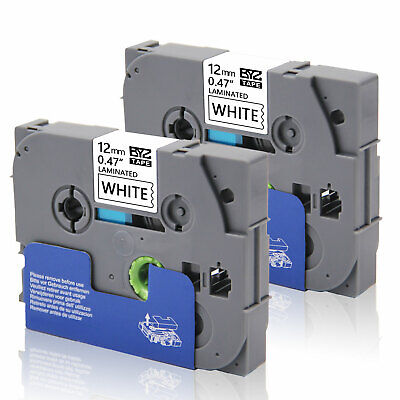 """2PK Label Tapes TZe231 12mm 0.47""""Black/White for Brother P-Touch PT-D200 PT-H100"""