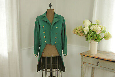 Tailcoat Jacket Green Double Breasted Vintage French theater costume gold button