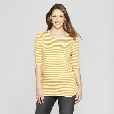 98cdf123b3df3 Isabel Maternity Womens Top XS Gold Yellow Striped Short Elbow Sleeve  Ruched New
