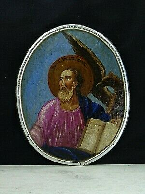 Antique 19th Russian Hand Painted Wooden Orthodox Icon St. John the Theologian
