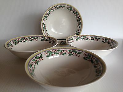 """Gibson EVERYDAY Christmas Holiday Holly Berry 6.3"""" Bowls Set of 4"""