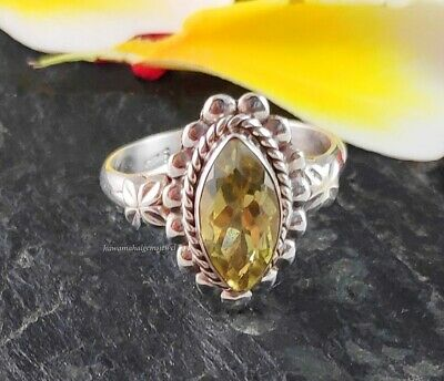 Solid 925 Sterling Silver Faceted Lemon Quartz Marquise GemStone Ring jewelry