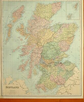 1902 Large Antique Map Scotland Perth Inverness Edinburgh Sutherland Caithness