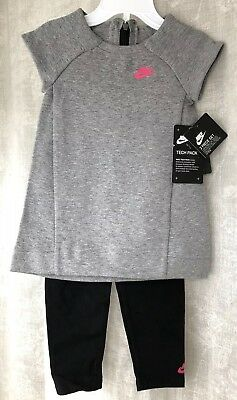 Nike Tech Fleece Two-Piece Girl's Set AH2322-001 Grey Black Pink Size 24 Months