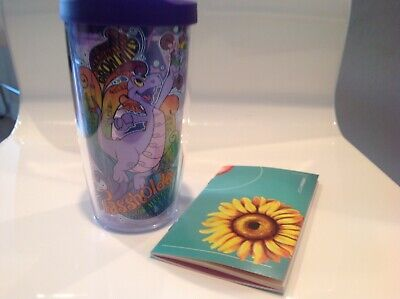 Disney EPCOT Flower Garden 2019 Figment Tervis Passholder Tumbler Cup With Book