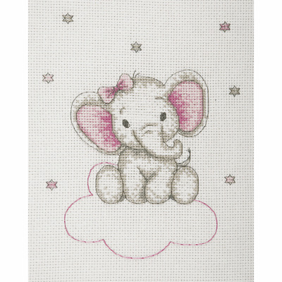 Anchor ~ Cross Stitch Kit ~ Baby Sets ~ Girl ~ Elephant on Clouds ~ Birth Record