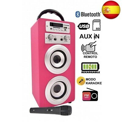 DYNASONIC Altavoz Karaoke Bluetooth 10W, Reproductor mp3 inalámbrico  (Rosa)