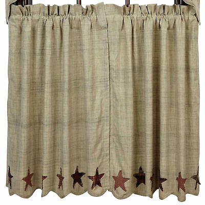 Abilene Star Scalloped Cotton Country/Primitive Window Cafe Tiers (2) Sizes