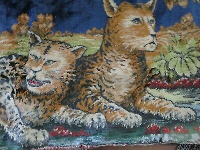 HUGE Vintage Yard Long Tapestry Pillow w/Fringe GORGEOUS Unique Animal Print
