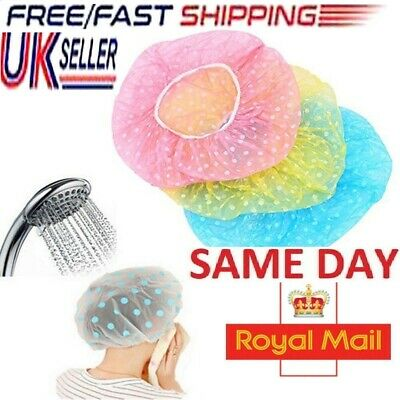 3x Waterproof Elastic Shower Cap Hat Reusable Bath Head Hair Cover Salon Shower