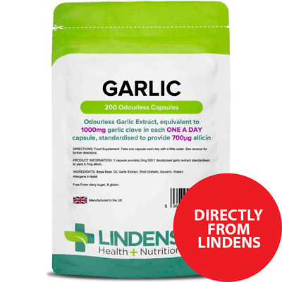 Garlic 1000mg Odourless Capsules 200  Pack Direct from Lindens [1561]