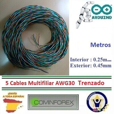 Cable AWG30 MULTIFILIAR Wrapping Wire Electronica 5 Metros x 5 Colores Dupont