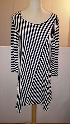 6f71a4c9e6 Womens Medium Knit Top Soft Surroundings Navy and White Stripe Soft Soft
