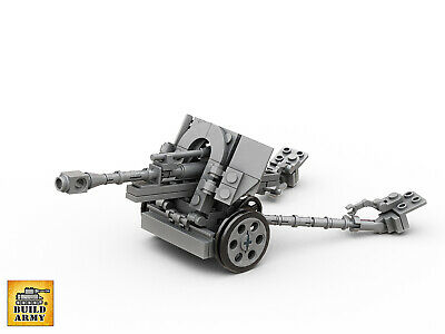 WW2 10.5cm leFH field gun+minifigures MOC brick set+instruction by Buildarmy®