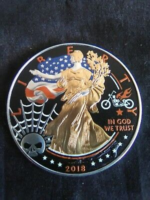 2018 American Silver Eagle Colorized Harley Davidson 24K Gold Gilded 1oz Coin