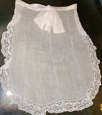 Antique Victorian Edwardian Romantic White Cotton Handmade Lace Half Apron 20""