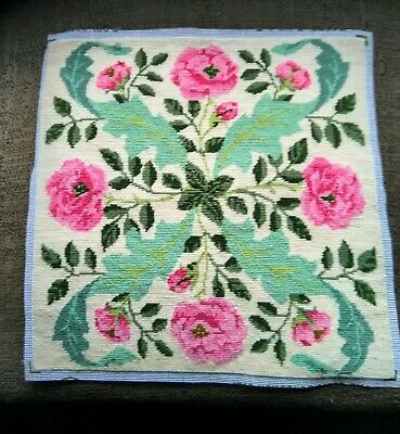 Completed Needlepoint Tapestry Cushion Front Roses 40cm x 40cm