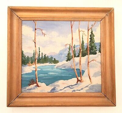 Vintage 20th Century Oil Painting Snowy Snow Landscape Trees River signed GRAHAM