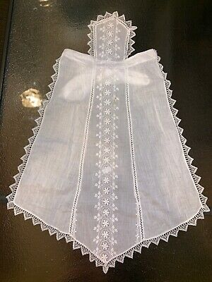 Antique Victorian Edwardian White Cotton Handmade Battenburg Lace Half Apron 27""