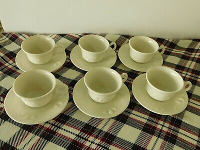 Set Of Six Red-Cliff Ironstone China Embossed Grape& Vine Cups & Saucers