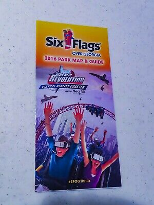 2016 Six Flags Over Georgia Park Map featuring the New Revolution VR Coaster