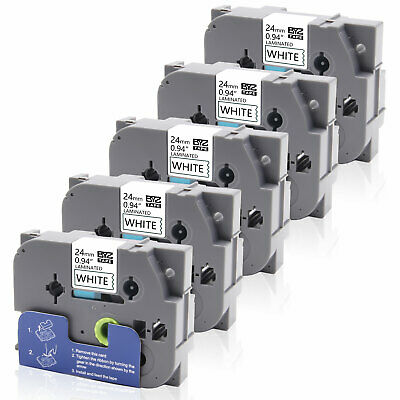 """5PK TZe-251 TZ251 Label Tape P-touch Compatible Brother 24mm 0.94"""" White PT-520"""
