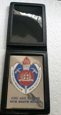 NSW Fire / rescue  metal badge  and leather wallet