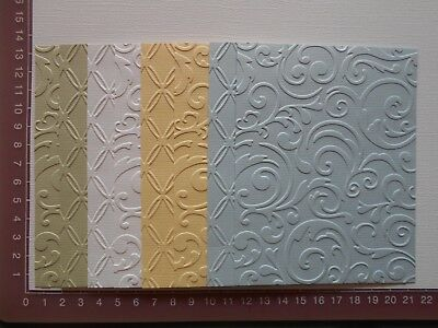 Embossed Cardstock - 8 pieces, 2 designs, 4 colours - Lot 3A