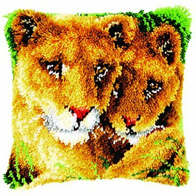 Vervaco Latch Hook Cushion Lioness and CUB