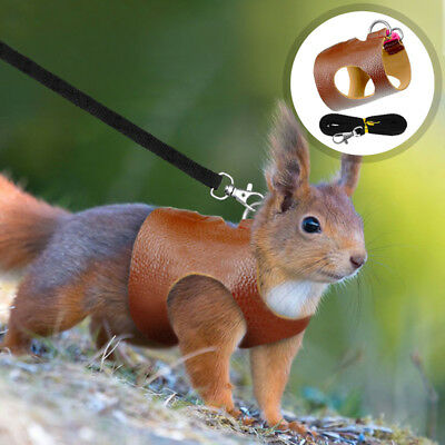Hamster Small Animal Squirrel Leather Harness Leash Pet Vest Guinea Pig