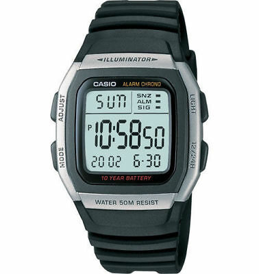 Casio W96H-1AV Men's Digital Chronograph Watch Black Resin Band Illuminator NEW