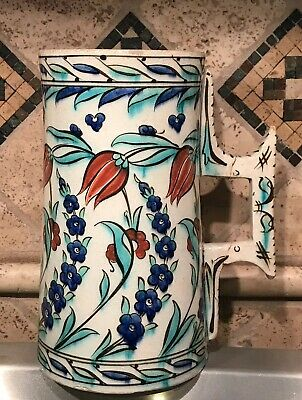 Antique Firenze Italy Hand Painted Gorgeous Red/Blue Floral Ceramic Jug Jar Vase