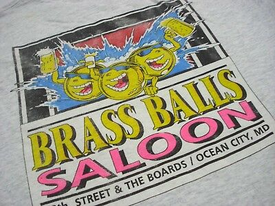 Vintage Gray With Purple Trim Brass Balls Saloon Ocean City, Md T-Shirt Size L