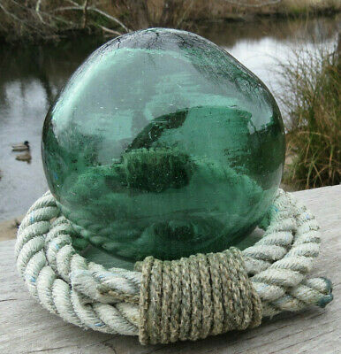 """Japanese Blown Glass Float 4.5"""" Pickle GREEN WP 225 Inclusion Antique Rope Stand"""