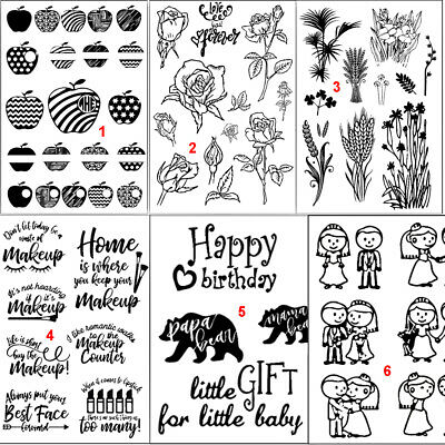 Happy Flower Transparent Silicone Clear Stamps DIY Scrapbook Embossing Art Rose