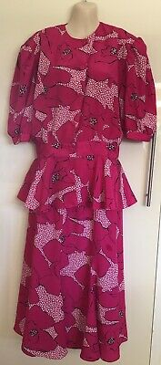 Vintage Retro Flirt 2 Piece Pink Peplum Shoulder Padded Top & Skirt Size 14